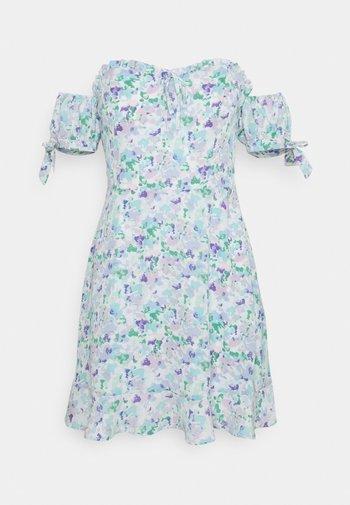 RECYCLED OFF SHOULDER TIE DETAIL DRESS - Day dress - light blue