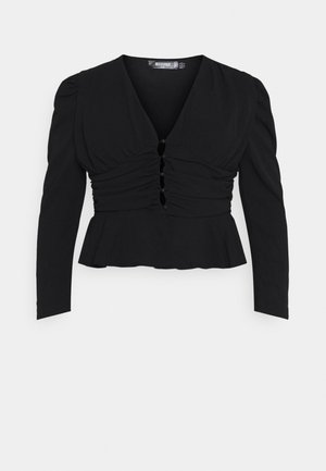 RUCHED PUFF SLEEVE PEPHEM - Camicetta - black