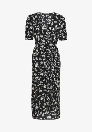FLORAL RUCHED SIDE MIDI DRESS - Vapaa-ajan mekko - black