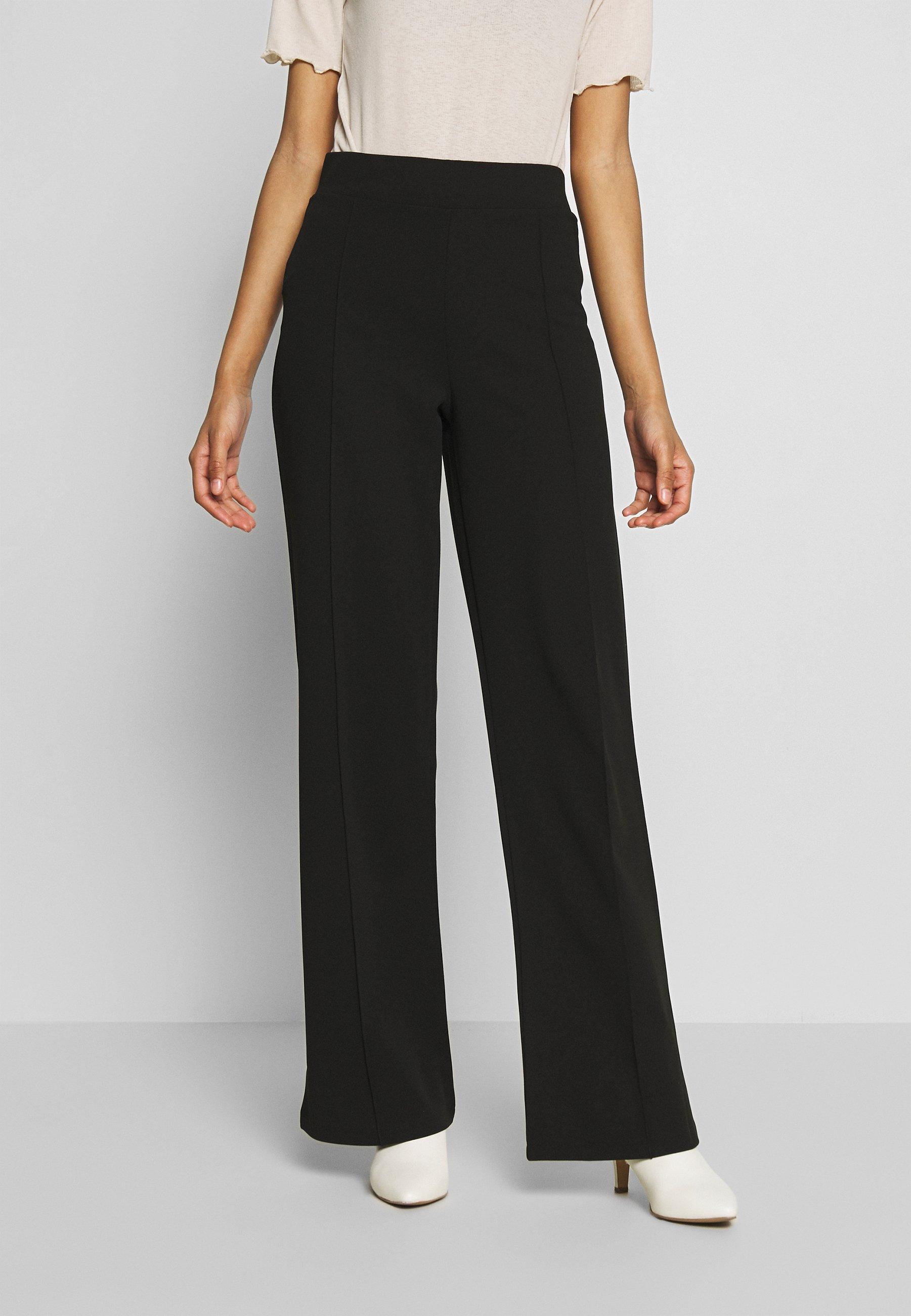 DETAILED WIDE PANTS Bukse black