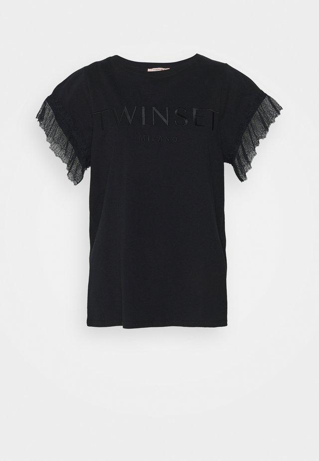 LOGO RICAMATO - T-shirt print - nero