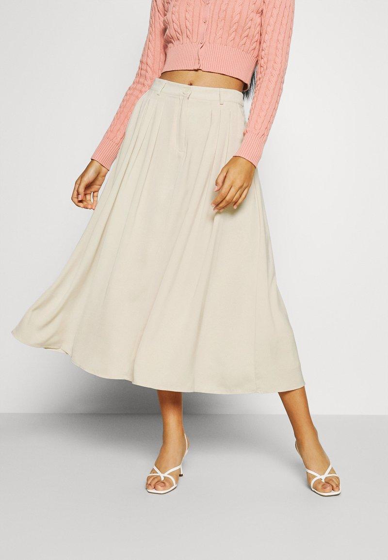 NA-KD - PLEATED MIDI SKIRT - A-line skirt - beige