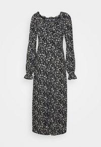 BUTTON MILKMAID MIDI DRESS FLORAL - Denní šaty - black