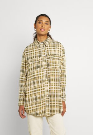 OVERSIZED BASIC CHECK - Button-down blouse - green