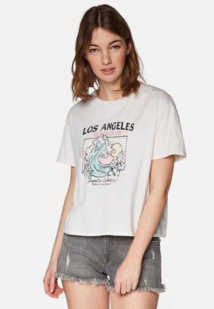 Print T-shirt - gardenia