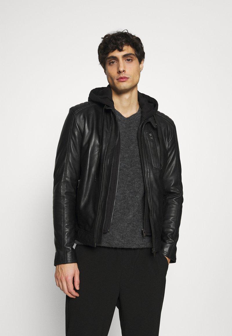 Serge Pariente - RANDALL WITH HOOD - Leather jacket - black