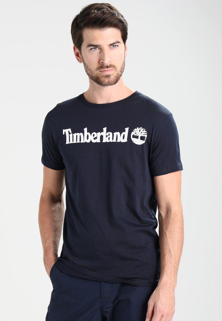 Timberland - CREW LINEAR  - T-shirt z nadrukiem - dark sapphir