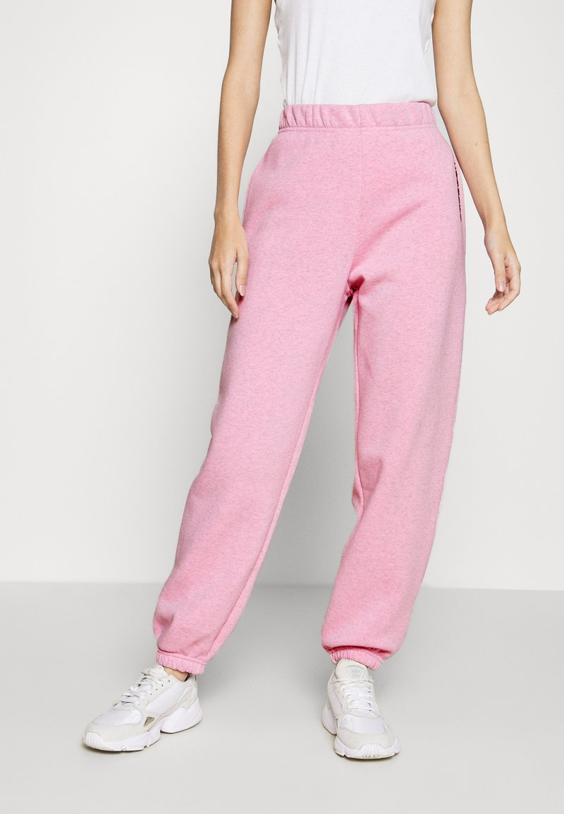 NEW girl ORDER - EMBROIDERED TEXT JOGGERS - Tracksuit bottoms - pink