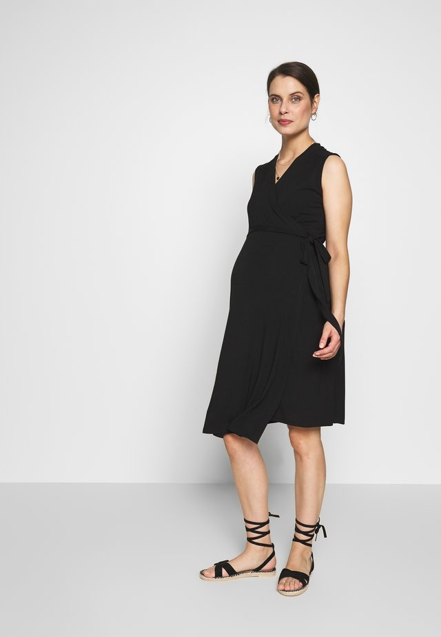WRAP DRESS - Vestito di maglina - black