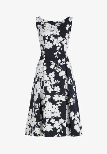 MIT BLUMENPRINT - Cocktail dress / Party dress - dark blue/cream