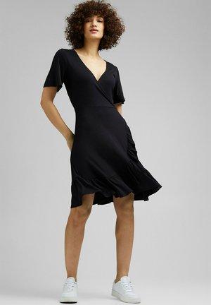 VNECK FRILLS - Day dress - black