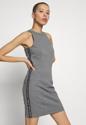 LOGO ELASTIC FITTED MILANO DRESS - Jerseyklänning - mid grey heather