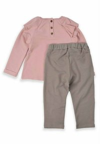 Cigit - Leaf Printed Detailed Two Piece Set (1 to 5 years) - Trousers - powder pink - 1