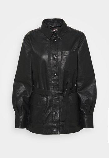 HURI - Leather jacket - black
