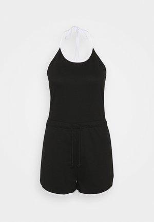 CONTRAST HALTER SPORT PLAYSUIT - Jumpsuit - black