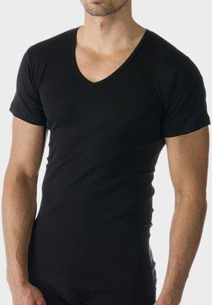 SHIRT V-NECK CASUAL COTTON - Undershirt - schwarz
