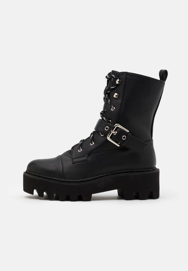 BASIC LACE UP COMBAT BOOTS - Cowboy- / Bikerstövletter - black