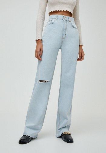 Jeansy Straight Leg - mottled dark blue