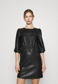 Noisy May - NMHILL SLEEVE STUD DRESS - Sukienka letnia - black - 0