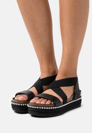 WIDE FIT ADELLE - Platform sandals - black