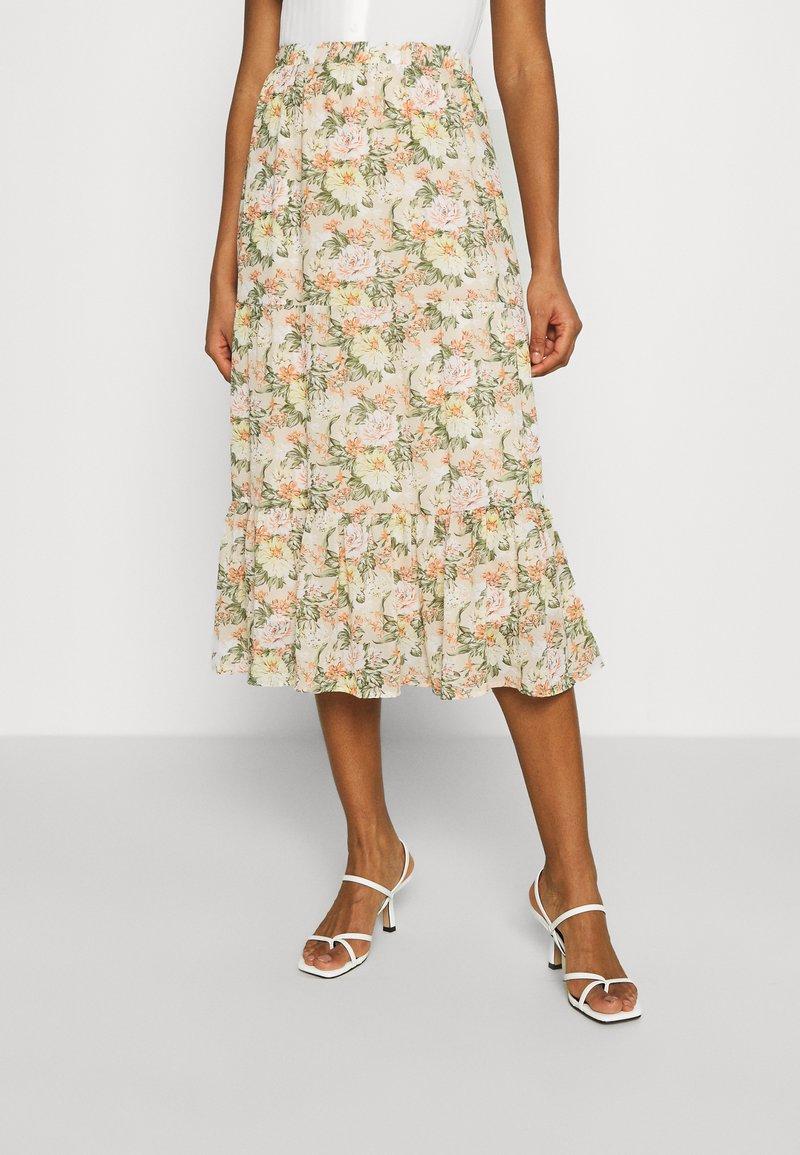 Vila - VIMILINA FLOWER SKIRT - Maxi skirt - sandshell