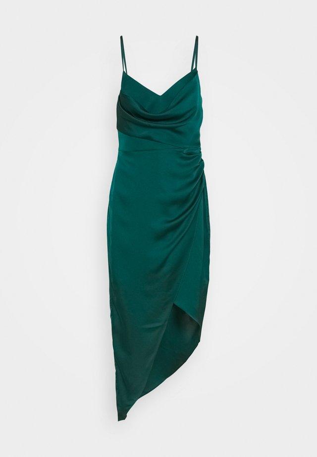 KAHLIA ASYMMETRIC COWL NECK DRESS - Cocktail dress / Party dress - dark green