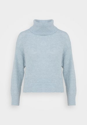 Roll neck- wool blend - Jersey de punto - light blue