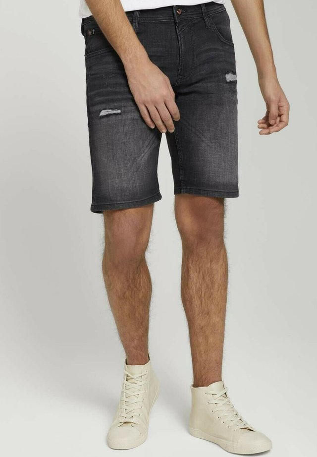 Shorts di jeans - destroyed dark stone black den