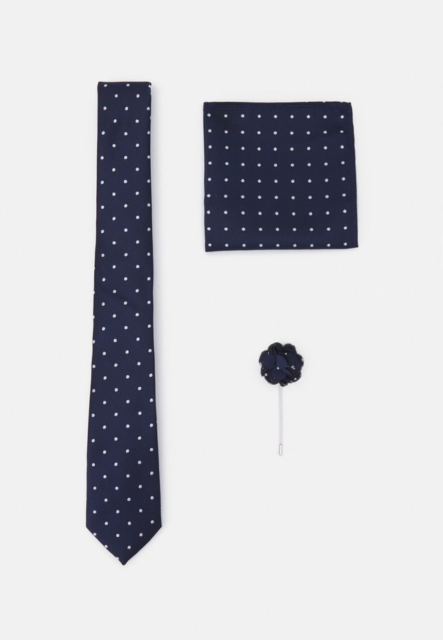 TIE HANKIE AND FLORAL PIN SET - Cravatta - navy