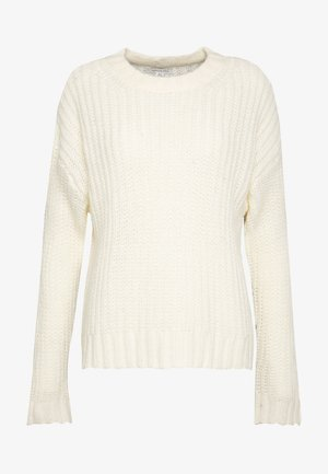 SLOUCHY CROPPED CABLE - Jumper - cream