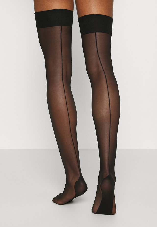 PLAIN TOP SEAMED STOCKINGS BLACK - Strumpor - black