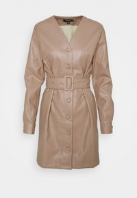 Missguided - BELTED LONG SLEEVE MINI DRESS - Day dress - beige - 0