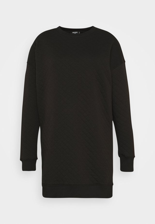 QUILTED SWEATER DRESS - Denní šaty - black
