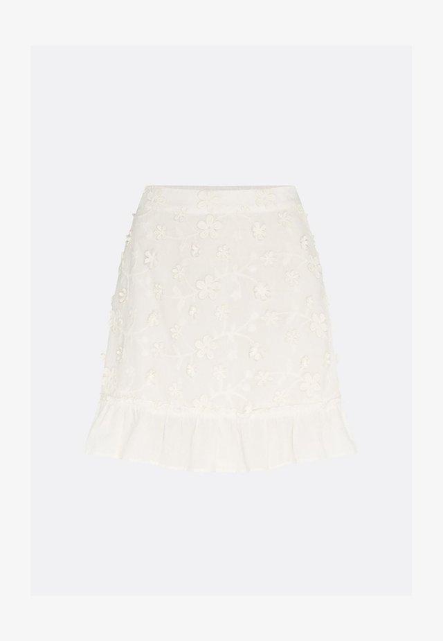 FLOWER FRILL - A-lijn rok - cream white
