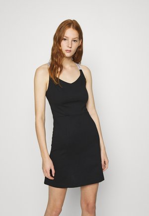 LOGO STRAPS MILANO DRESS - Vestito di maglina - black