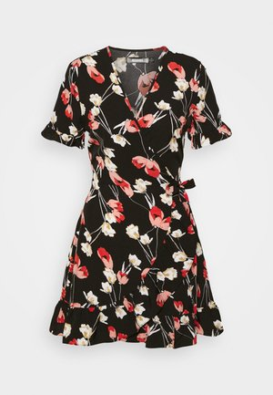 FLORAL WRAP FRONT SKATER DRESS - Day dress - black