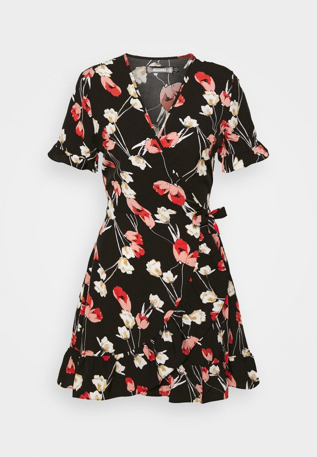 FLORAL WRAP FRONT SKATER DRESS - Vardagsklänning - black