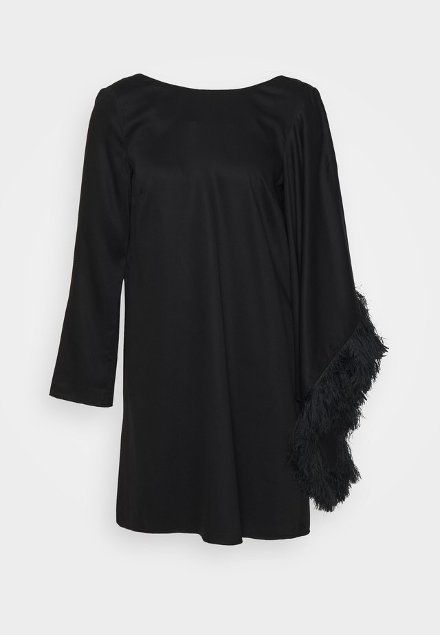 SHORT DRESS WITH V BACK AND DRAPED SLEEVE - Robe d'été - black