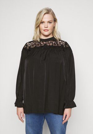 BROIDERY TRIM BLOUSE WITH LONG SLEEVES AND HIGH-NECK  - Bluser - black
