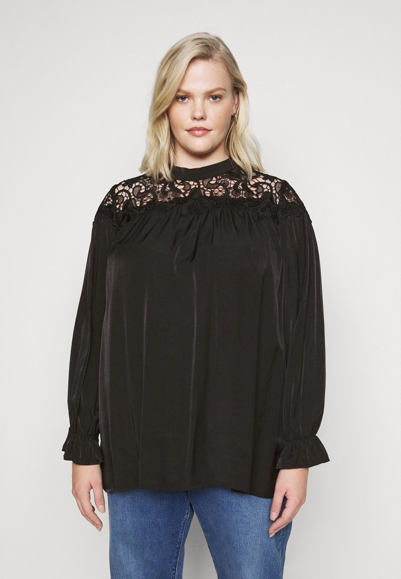 Glamorous Curve - BROIDERY TRIM BLOUSE WITH LONG SLEEVES AND HIGH-NECK  - Blouse - black