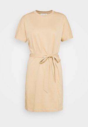 CAP SLEEVE MINI DRESS - Jersey dress - beige