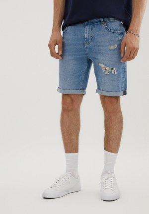 MIT ZIERRISSEN - Denim shorts - blue denim