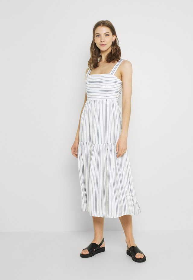 SIRI STRIPE MIDI DRESS - Day dress - navy/porcelain