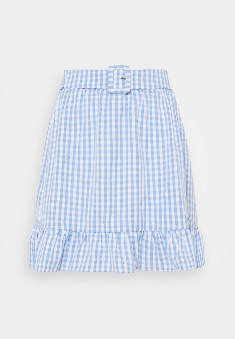 Vila - VIGRIMDA BELT SKIRT - Mini skirt - blue/white