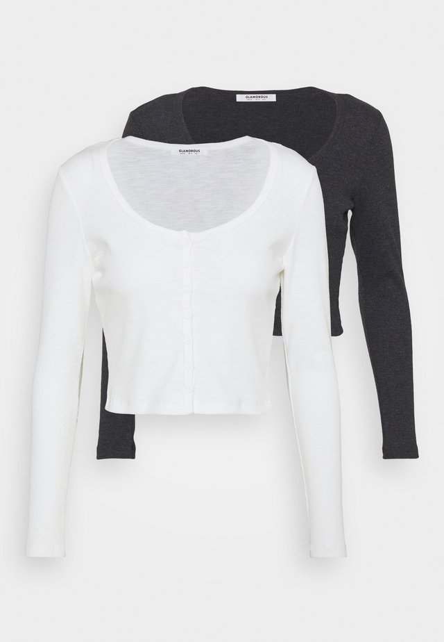 LONG SLEEVED WITH LOW ROUND NECKLINE 2 PACK - Top s dlouhým rukávem - black/off white