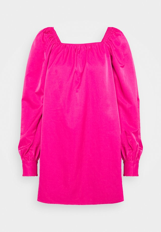 RUCHED LONG SLEEVE BABYDOLL - Vestito estivo - magenta