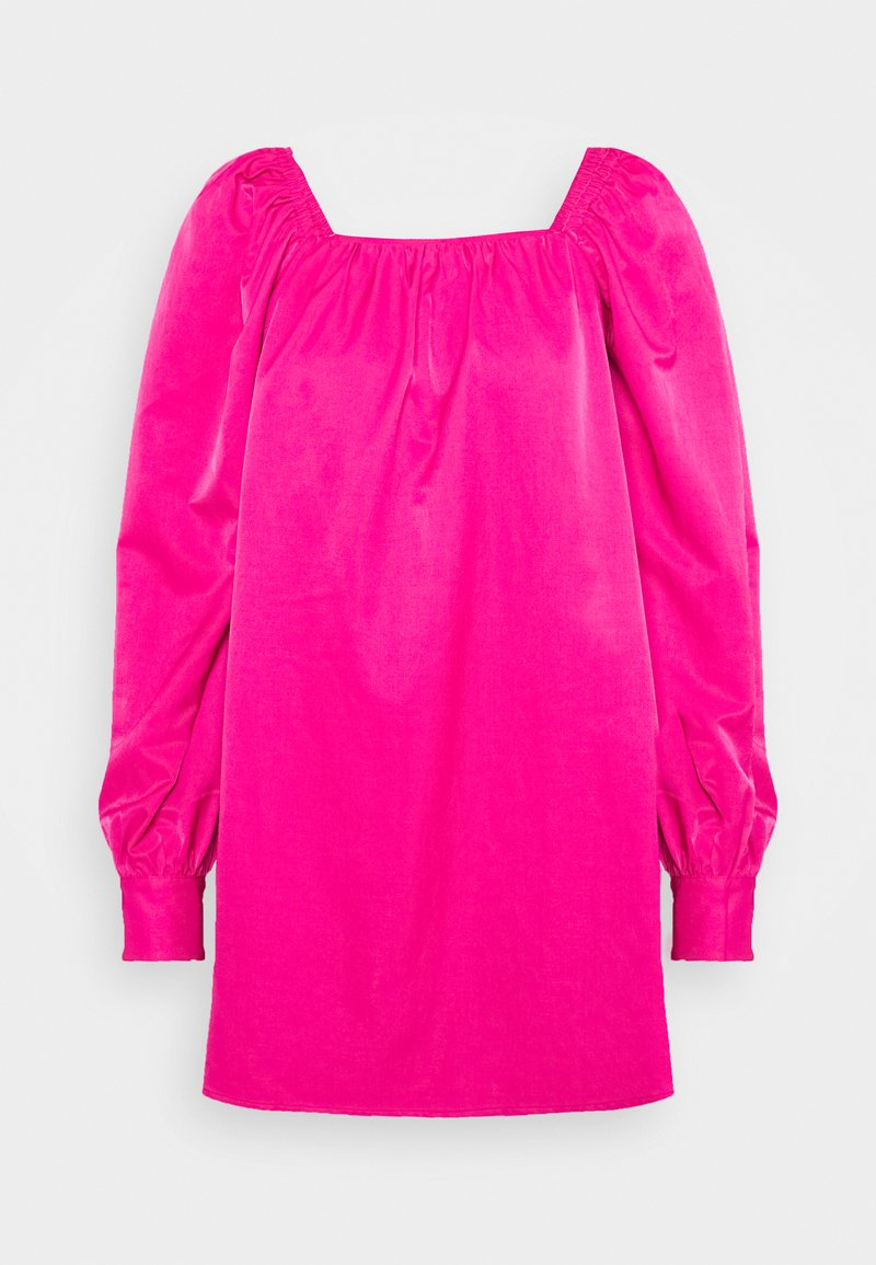 Who What Wear - RUCHED LONG SLEEVE BABYDOLL - Day dress - magenta