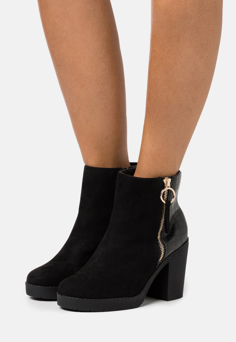 Dorothy Perkins Wide Fit - WIDE FIT ABBY SIDE ZIP BOOT - High heeled ankle boots - black
