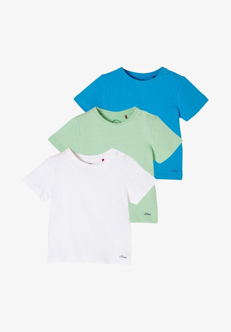 s.Oliver - 3 PACK - Print T-shirt - white/light green/turquoise