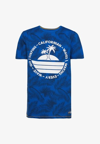 MIT BLÄTTERMUSTER - Print T-shirt - cobalt blue